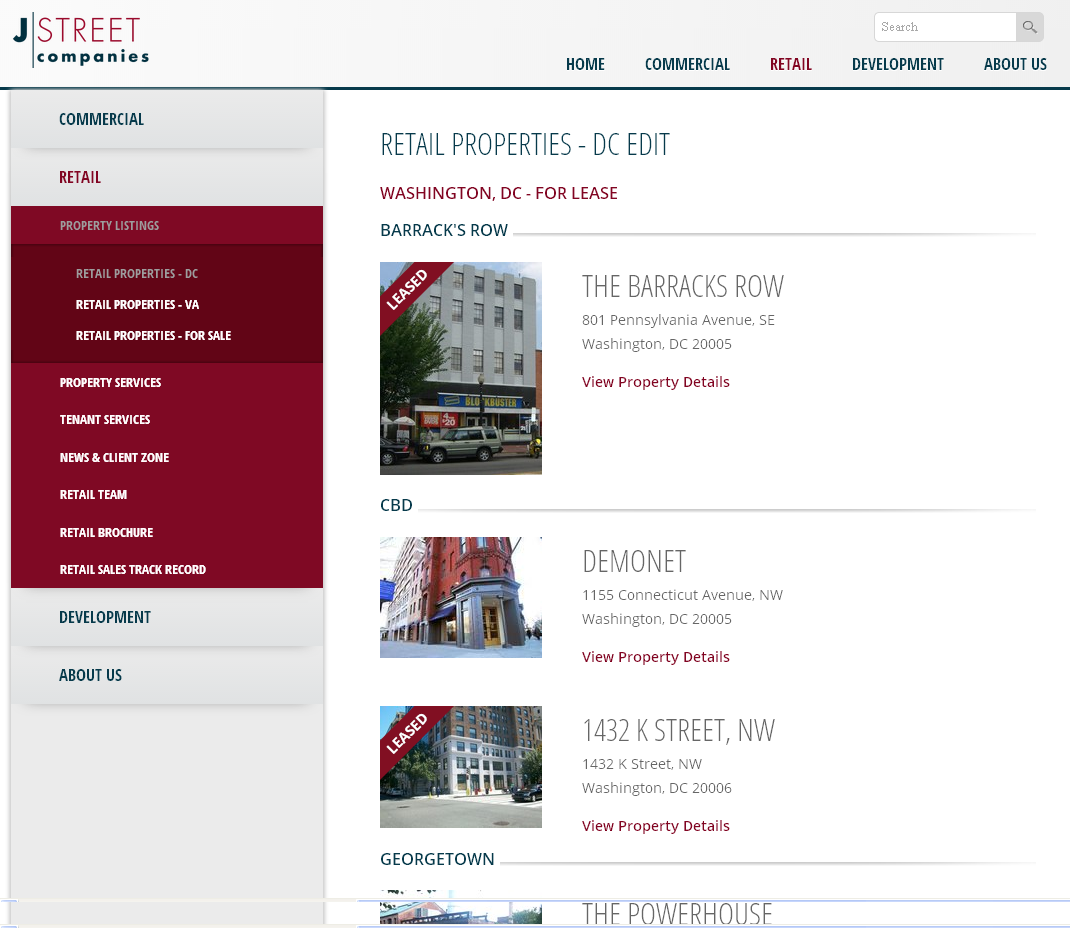 website development included responsive web design & dynamic content tool to manage retail propertie