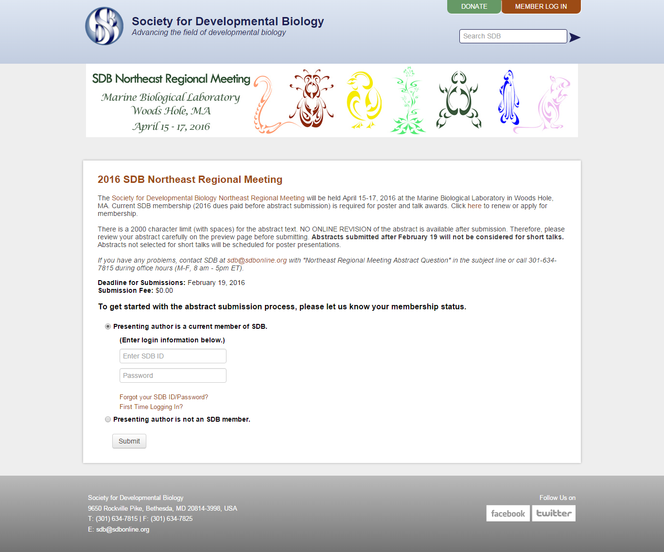SDB website manages scientific abstract submissions
