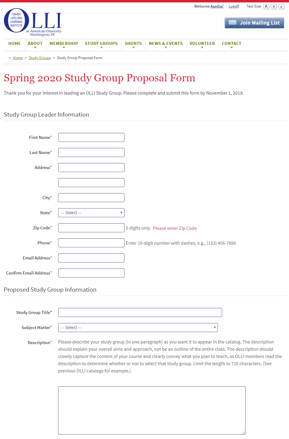 Study Group Leader Proposal Form